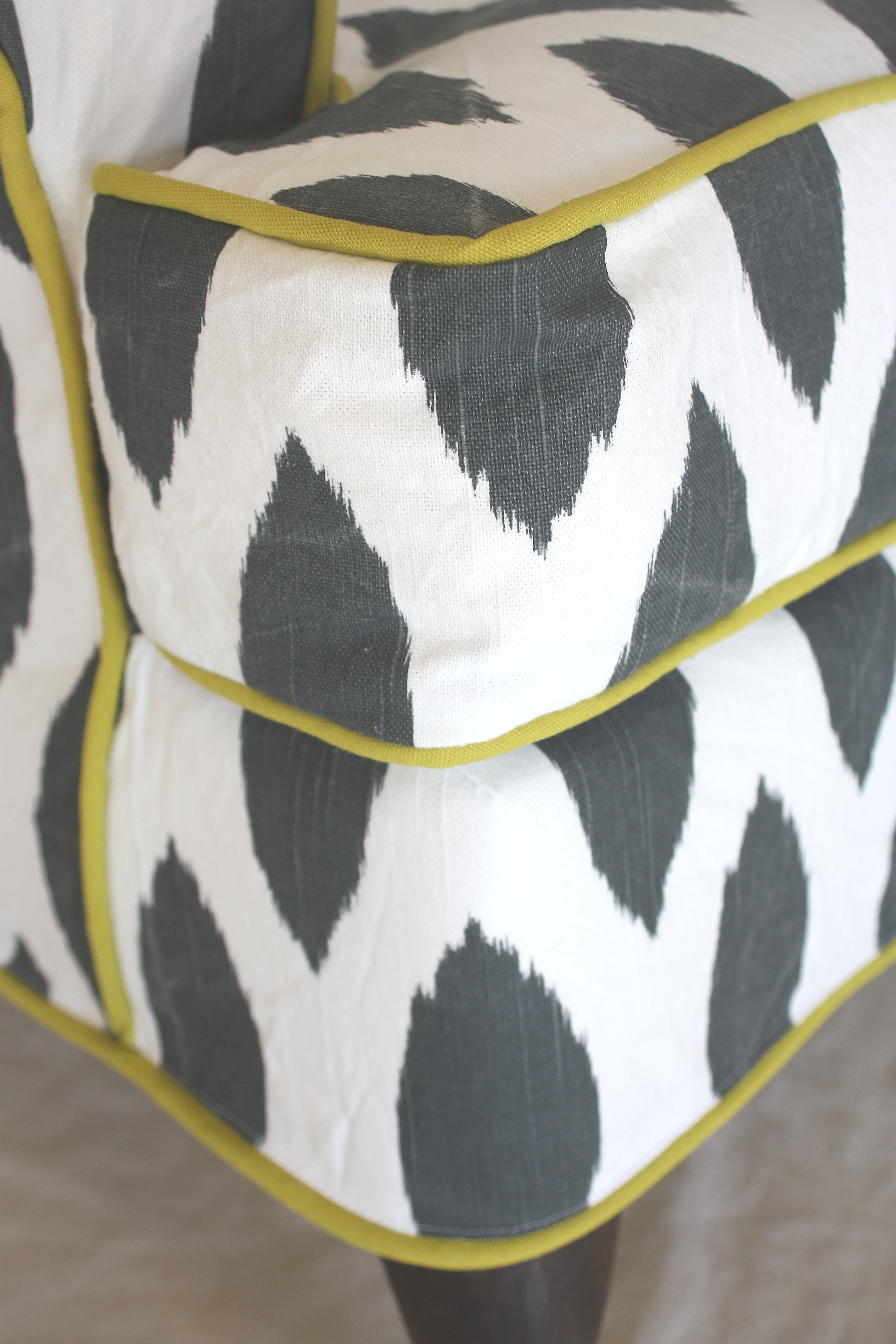 Slipcovered Ikat Wing Chair