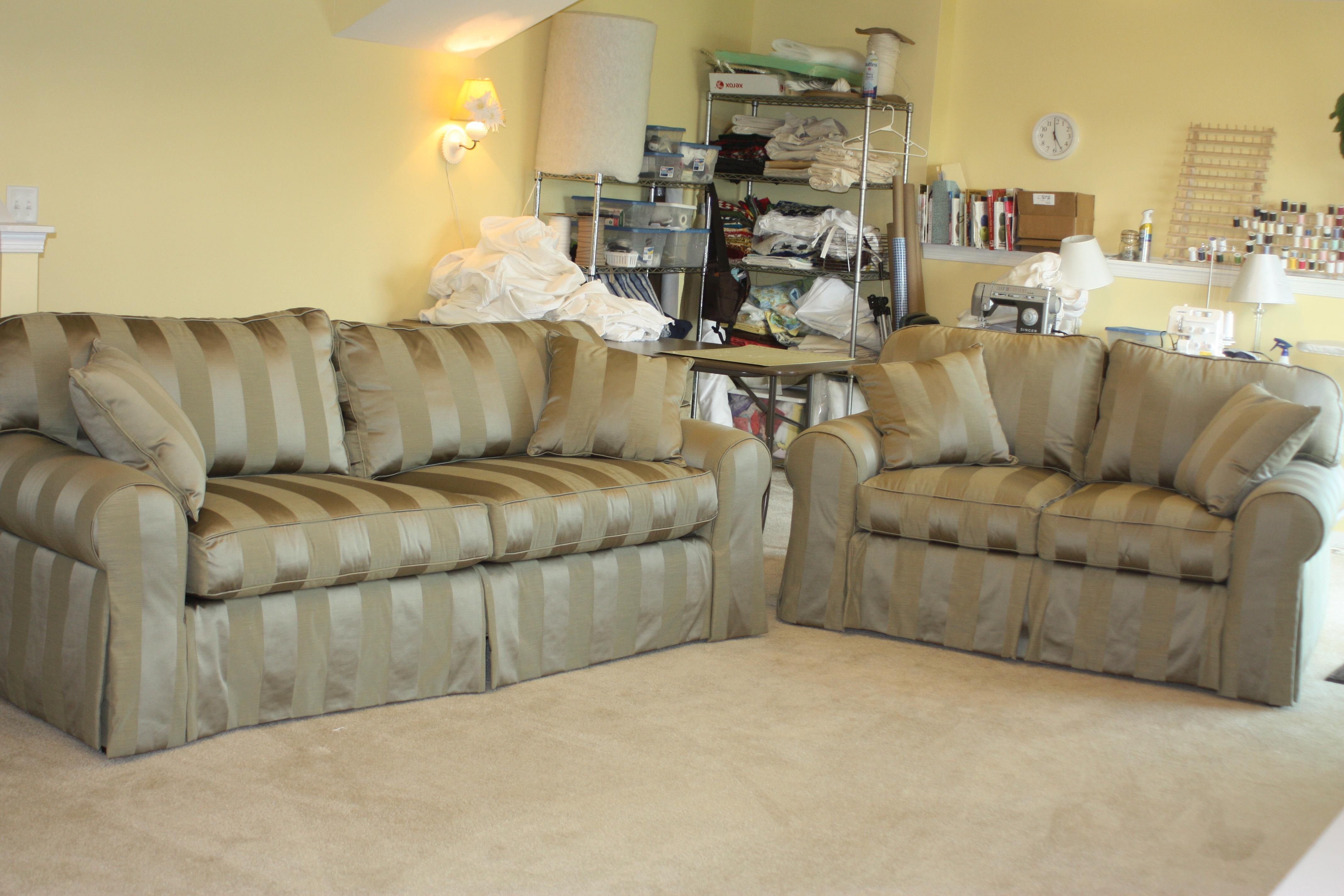White Denim Sofa & Loveseat