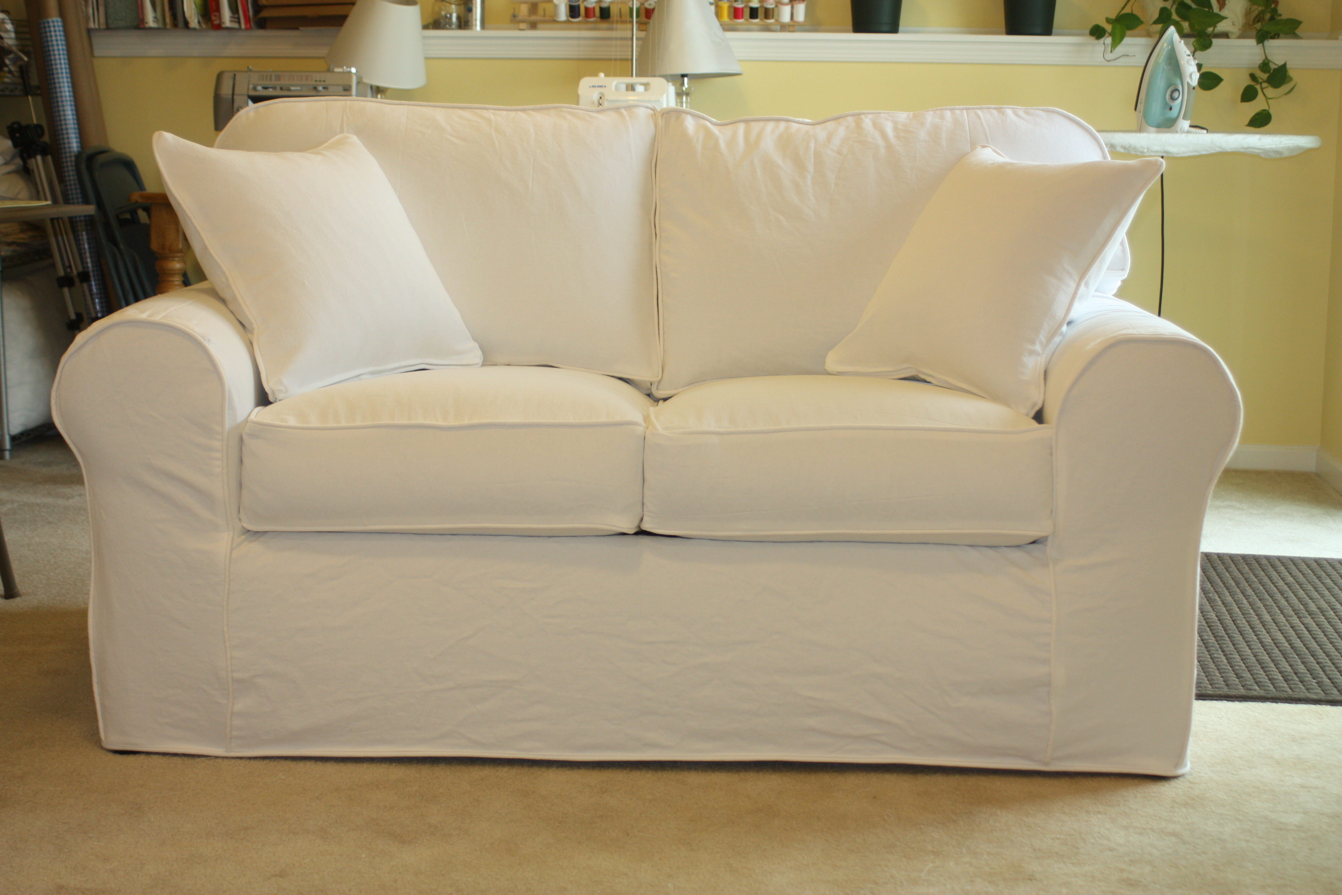 White denim sofa loveseat twill slipcover studio Loveseat slipcover